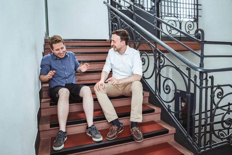 Berlin, 25.07.2018 Doppelinterview mit JU-Chef Ziemiak und Juso-Chef Kühnert, Streitgespräch zum Thema Rente. Foto: Viviane Wild , Mobil: 01752319052